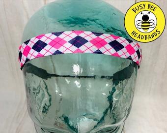 "Button Headband for Mask 7/8"" PREPPY ARGYLE Headband /  / Yoga Headband / Adjustable Headband / Nonslip Headband /"