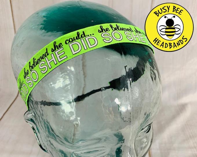 "Button Headband for Mask 7/8"" Neon Green SHE BELIEVED Inspirational Headband /  / Adjustable Nonslip Headband / Gift for Runners /"