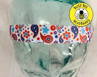 """Button Headband for Mask 7/8"""" PAISLEY Headband /  / Nonslip Headband / Adjustable Headband / Workout Headband / USA Headband / by"""