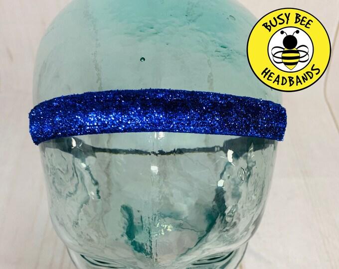 "Button Headband for Mask 3/8"" 5/8"" BLUE SPARKLE Headband / Adjustable Nonslip Headband / Blue Headband / Glitter Headband /"