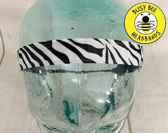 "Button Headband for Mask 7/8"" ZEBRA Headband /  / Nonslip Headband / Adjustable Workout Fitness Headband / Gift for Zebra Lover /"