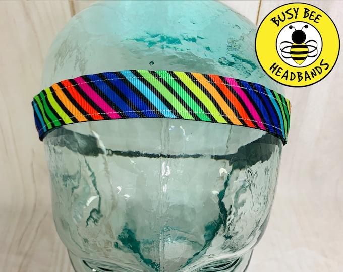 """Button Headband 7/8"""" RAINBOW STRIPES Headband /  / Gift for Tween Girl / Adjustable Headband / Nonslip Headband / Busy Bee Headbands"""