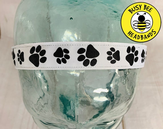 "7/8"" PAW PRINT Headband / Running Headband / Nonslip Headband / Adjustable Workout Headband / Dog Lover Gift Vet Tech / Busy Bee Headbands"