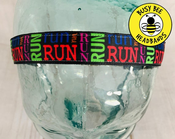"7/8"" RUN Headband / Running Headband / Nonslip Headband / Adjustable Workout Headband / Gift for Running Partner /Busy Bee Headbands"
