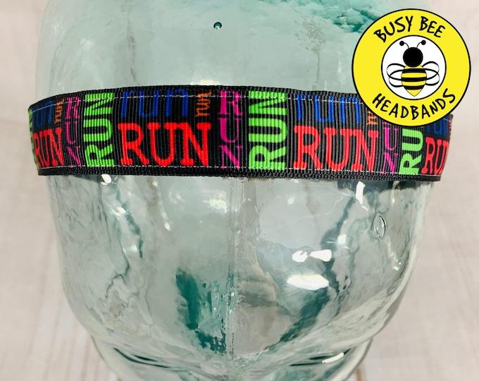 "Button Headband for Mask 7/8"" RUN Headband /  / Nonslip Headband / Adjustable Workout Headband / Gift for Running Partner /"