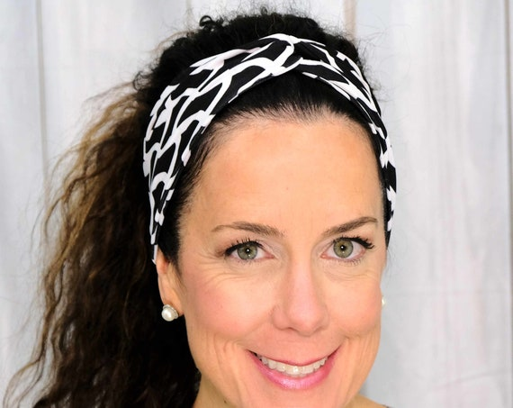 BLACK WHITE Headband / Twisted Turban Headband / Top Knot Headband / Wide Headband / Yoga Headband / Boho Style Headband Busy Bee Headbands
