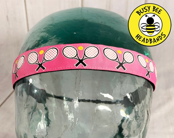 "7/8"" TENNIS Headband / Gift for Tennis Player / Adjustable Nonslip Headband / Workout Headband / Fitness Headband / Busy Bee Headbands"