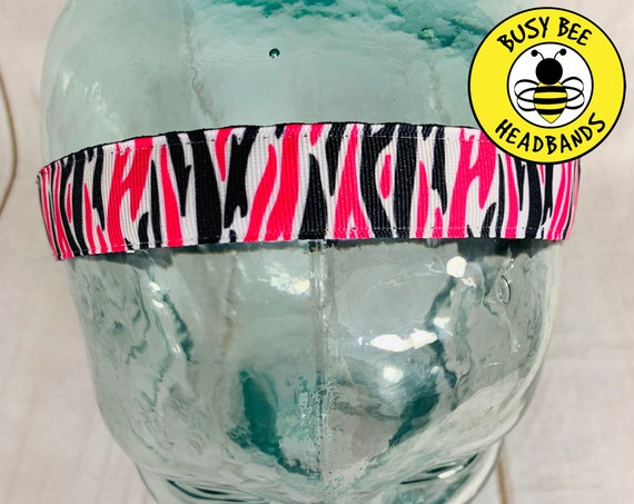 "7/8"" FUNKY ZEBRA Headband / Running Headband / Nonslip Headband / Adjustable Workout Headband / Gift for Tween / by Busy Bee Headbands"