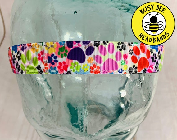 "7/8"" COLORFUL PAW PRINT Headband / Running Headband / Nonslip Headband / Adjustable Workout Headband / Dog Cat Lover / Busy Bee Headbands"