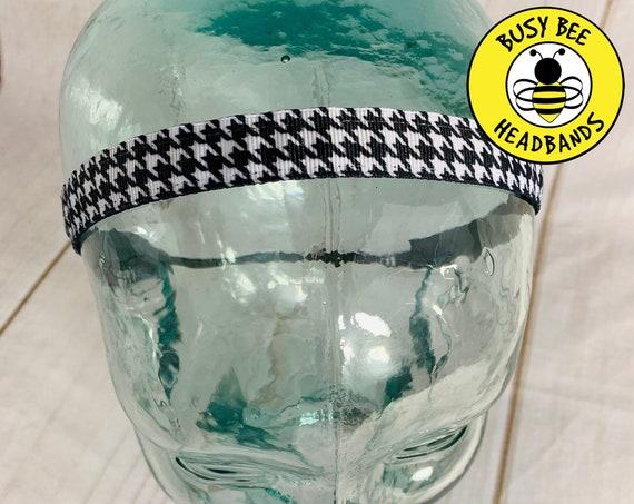 "5/8"" HOUNDSTOOTH Headband / Running Headband / Nonslip Headband / Adjustable Skinny Headband / Workout Headband / Busy Bee Headbands"