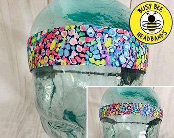 "Button Headband for Mask 7/8"" & 1.5"" GYPSY JUNGLE Lilly Inspired Floral Headband /  / Adjustable Nonslip Headband /"