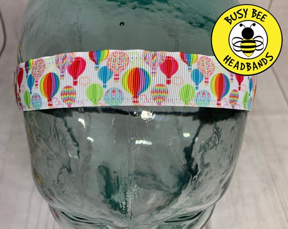 "7/8"" HOT AIR BALLOONS Headband / Running Headband / Adjustable Nonslip Headband / Gift for Hot Air Balloon Crew / Busy Bee Headbands"