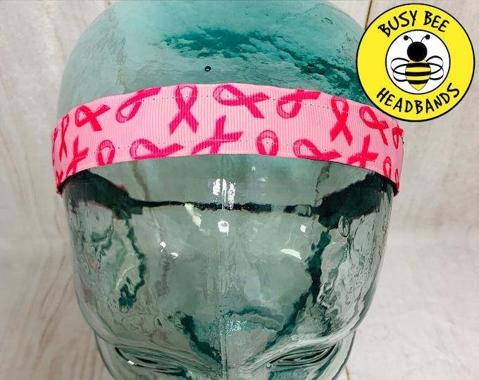 "Headband 7/8"" PINK RIBBONS Headband /  / Breast Cancer Awareness Headband / Adjustable Nonslip Headband / Busy Bee Headbands"
