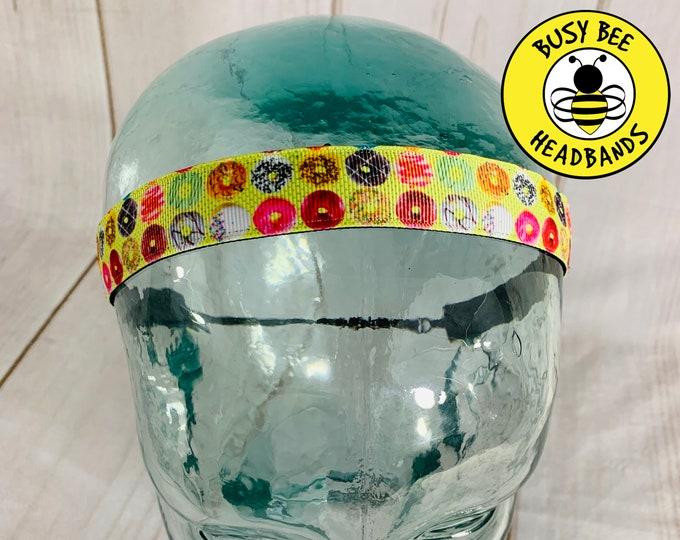 "Button Headband for Mask 7/8"" DOUGHNUT Headband /  / Adjustable Nonslip Headband / Donut Headband / Gift for Doughnut Lover /"