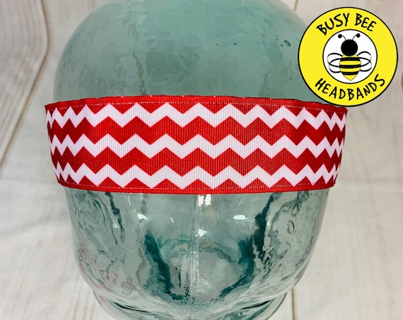 "1.5"" Red Chevron Headband / Running Headband / Nonslip Headband / Adjustable Workout Headband / Wide Red Headband / Busy Bee Headbands"