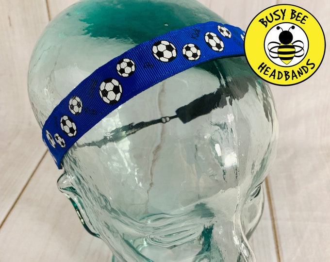 "Button Headband for Mask 7/8"" BLUE SOCCER Headband / Gift for Soccer Player / Adjustable Nonslip Headband / Exercise Workout Headband /"
