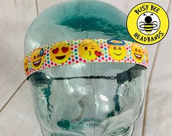 "Button Headband for Mask 7/8"" EMOJI Headband /  / Nonslip Headband / Adjustable Fitness Workout Headband / Gift for Tween /"