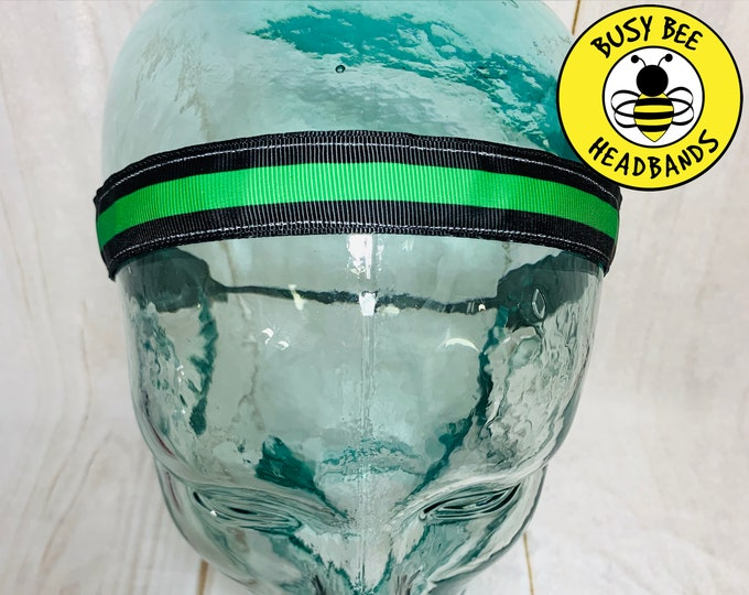 "Button Headband 7/8"" THIN GREEN LINE Headband /  / Sheriff Headband / Adjustable Nonslip Headband / Busy Bee Headbands"