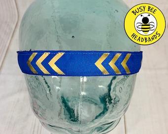 "Button Headband for Mask 7/8"" Blue & Gold Chevron Headband /  / Nonslip Headband / Adjustable Blue Headband / Workout Headband /"