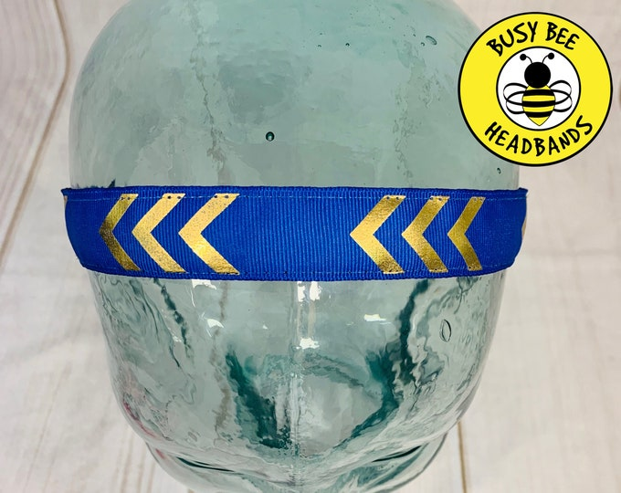 "Button Headband for Mask 7/8"" Blue & Gold Chevron Headband /  / Nonslip Headband / Adjustable Blue Headband / Workout Headband /"