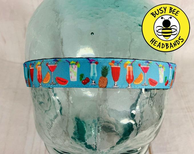 "Button Headband for Mask 7/8"" MARGARITAS Headband /  / Adjustable Nonslip Headband / Will Run for Rum Headband / Fitness Headband"