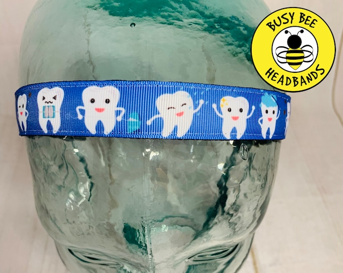 "Button Headband for Mask  7/8"" TOOTH Headband / Gift for Dentist Hygientist Othodontist /  / Nonslip Headband / Adjustable Headband"
