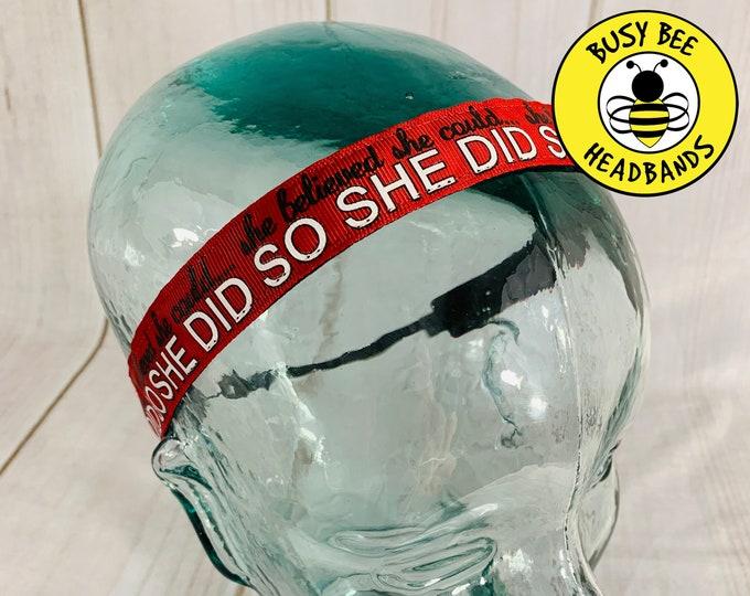 "Button Headband for Mask 7/8"" Red SHE BELIEVED Inspirational Headband /  / Adjustable Nonslip Headband / Motivational Headband /"