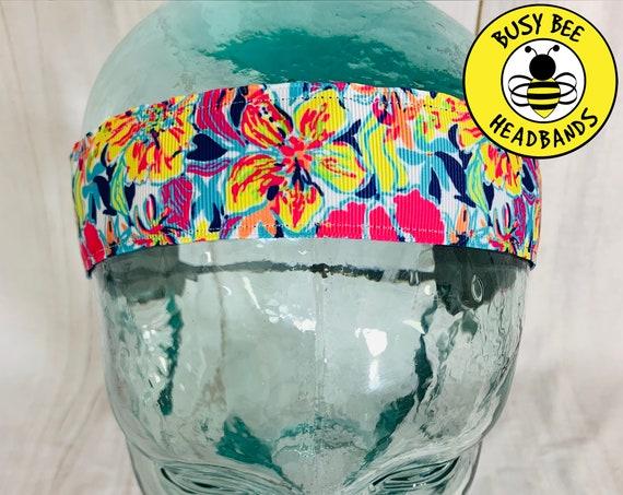 "1.5"" BESAME MUCHO Lilly Inspired Floral Headband / Running Headband / Yoga Headband / Adjustable Nonslip Headband / Busy Bee Headbands"