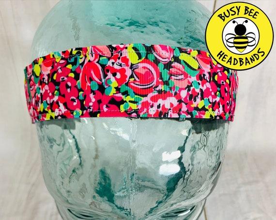 "1.5"" WILD CONFETTI Lilly Inspired Floral Headband / Running Headband / Yoga Headband / Adjustable Nonslip Headband / Busy Bee Headbands"