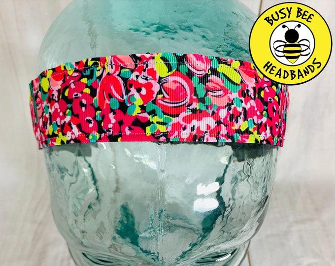 "Button Headband for Mask 1.5"" WILD CONFETTI Lilly Inspired Floral Headband / Yoga Headband / Adjustable Nonslip Headband /"
