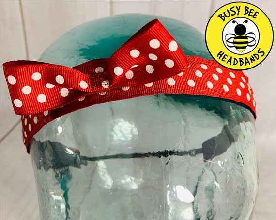 "7/8"" Red Minnie Headband / Running Headband / Nonslip Headband / Adjustable Workout Headband / Polka Dot Headband / Busy Bee Headbands"