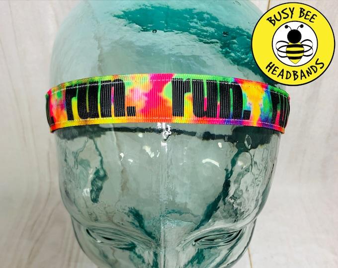 "Button Headband for Mask 7/8"" TIE DYE RUN Headband /  / Adjustable Headband / Nonslip Headband / Gift for Runner /"