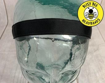 """Button Headband for Mask 7/8"""" SOLID BLACK Headband / Nonslip Headband / Adjustable Yoga Headband / Workout Headband / Busy Bee Headbands"""