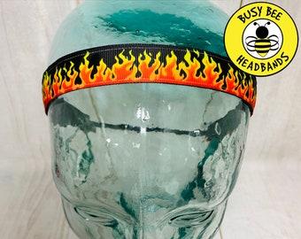 "Button Headband for Mask 7/8"" FIRE FLAMES Headband /  / Yoga Headband / Adjustable Nonslip Headband / Gift for Fire Fighter /"