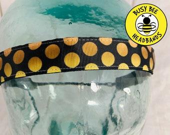 "Button Headband for Mask 7/8"" POLKA DOT Headband /  / Nonslip Headband / Adjustable Yoga Workout Headband / Dressy Headband /"