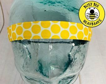 "Button Headband for Mask 7/8"" Big YELLOW POLKA DOT Headband / Nonslip Headband / Adjustable Workout Headband / Yellow Headband /"