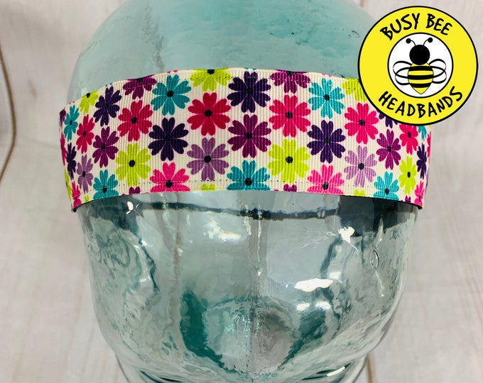 "Button Headband for Mask 1.5"" DAISY FLOWER Headband / Nonslip Headband / Adjustable Fitness Headband /"