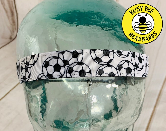 "Button Headband for Mask 7/8"" SOCCER Headband / Gift for Soccer Player / SOCCER BALLS Nonslip Headband / Adjustable Headband"