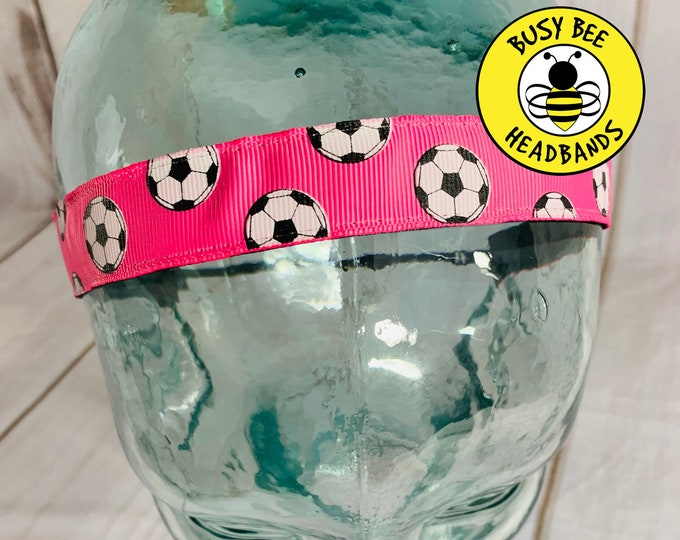 "Button Headband for Mask 7/8"" PINK SOCCER Headband / Gift for Soccer Player / Nonslip Headband / Adjustable Headband /"