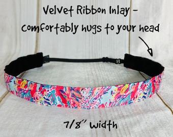 "7/8"" SUNKEN TREASURE Lilly Inspired Floral Headband / Adjustable Nonslip Headband / Button Headband Option by Busy Bee Headbands"