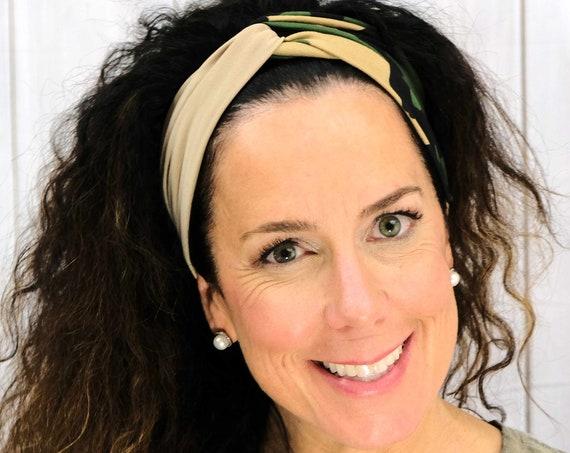 CAMO HEADBAND / Twisted Turban Headband / Wide Top Knot Headband / CAMOUFLAGE Headband / Yoga Headband / Boho Style / Busy Bee Headbands