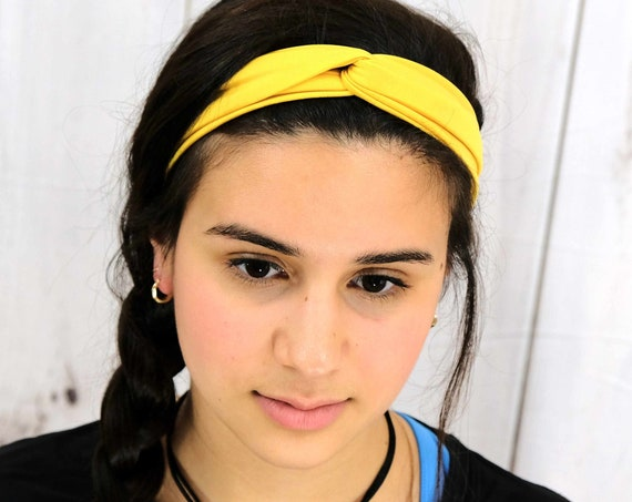 Sunflower Yellow Twisted Turban Headband Boho Head Wrap Athletic & Fashion One Size Fits Most by Busy Bee Headbands