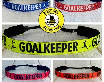 """7/8"""" SOCCER Headband / Goalie Midfielder Defender Forward / Adjustable Nonslip Headband / Button Headband Option by Busy Bee Headbands"""