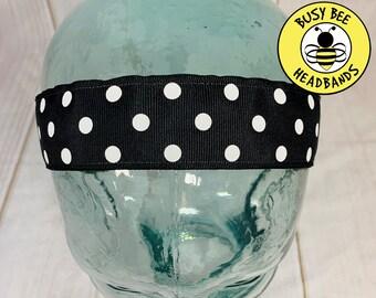 "Button Headband for Mask 1.5"" BLACK POLKA DOT Headband /  Nonslip Headband / Adjustable Workout Headband / Wide Black Headband /"