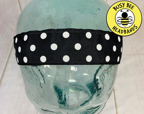 "1.5"" BLACK POLKA DOT Headband / Running Headband / Nonslip Headband / Adjustable Workout Headband / Wide Black Headband / Busy Bee Headbands"