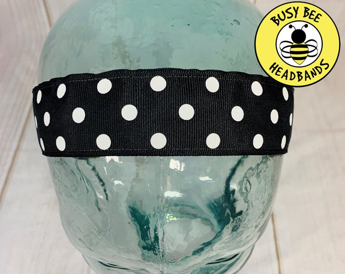 "Button Headband for Mask 1.5"" BLACK POLKA DOT Headband /  Nonslip Headband / Adjustable Workout Headband / Wide Black Headband /"