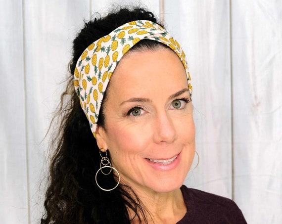 PINEAPPLE Headband / Twisted Turban Headband / Top Knot Headband / Wide Headband / Yoga Headband / Boho Style Headband / Busy Bee Headbands