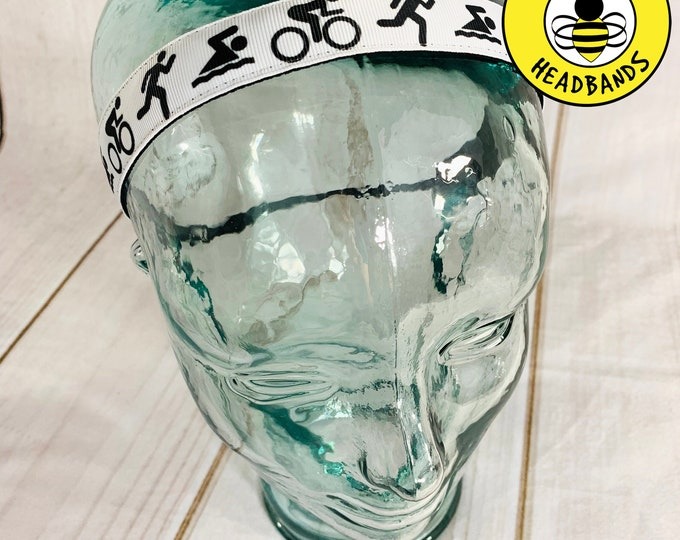 "7/8"" SWIM BIKE RUN Tri Triathlon Headband / Triathlete Headband / Adjustable Nonslip Headband / Button Headband Option by Busy Bee Headbands"