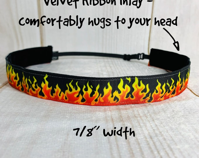"7/8"" FIRE FLAMES Headband / Gift for Fire Fighter / Adjustable Nonslip Headband / Button Headband Option by Busy Bee Headbands"