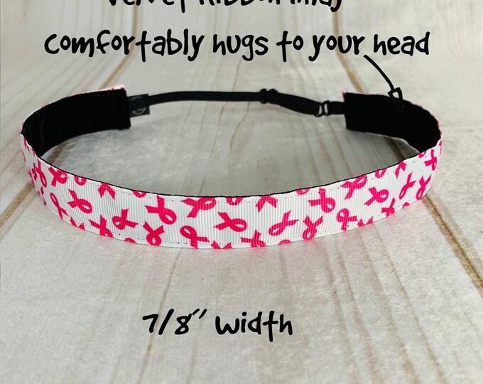 "7/8"" PINK RIBBON Headband on white / Breast Cancer Awareness / Adjustable Nonslip Headband / Button Headband Option by Busy Bee Headbands"